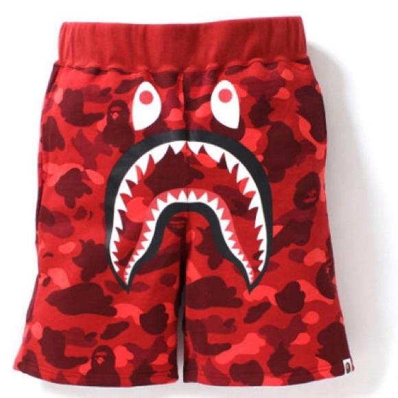ec25e908ae Bape Shorts | A Bathing Ape Shark Red | Poshmark